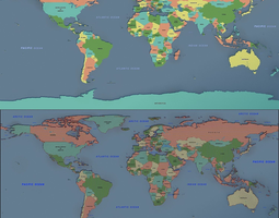 world map 02 3D model