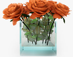 rose orange 3d