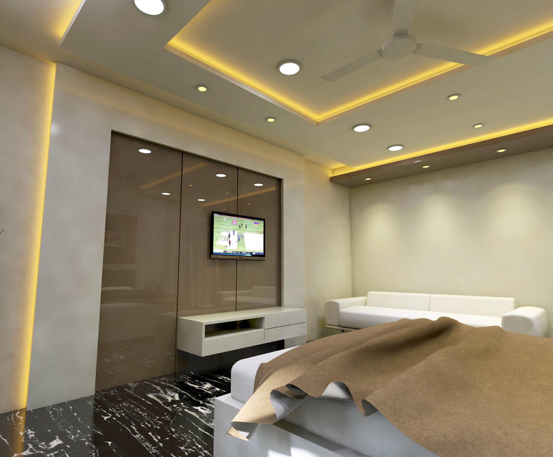 modern bedroom interior vray rendered 3d