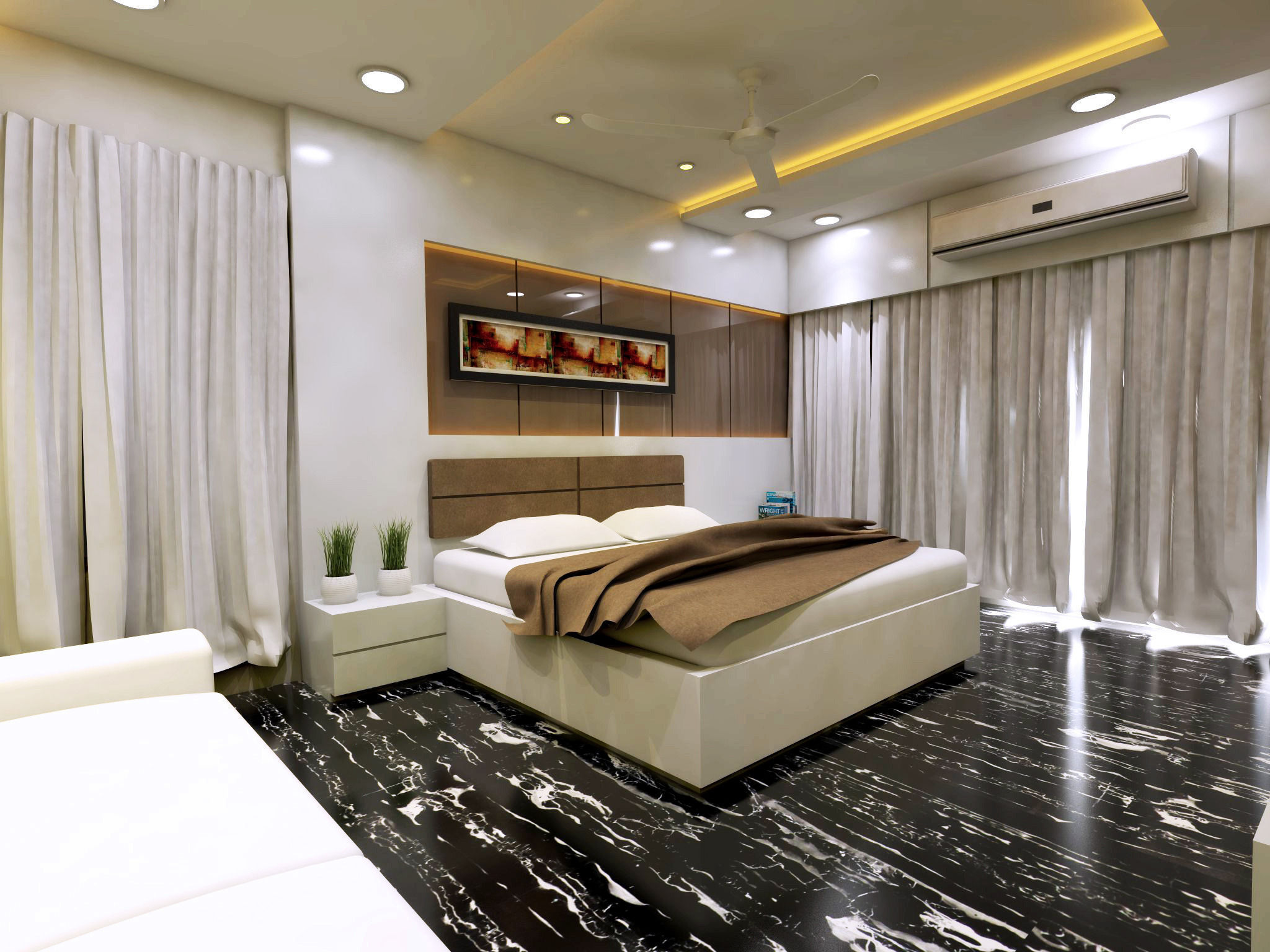 modern bedroom interior vray rendered 3d model skp 1 ...
