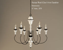 restoration hardware  parisian wood and zinc 6 arm chandelier 3d