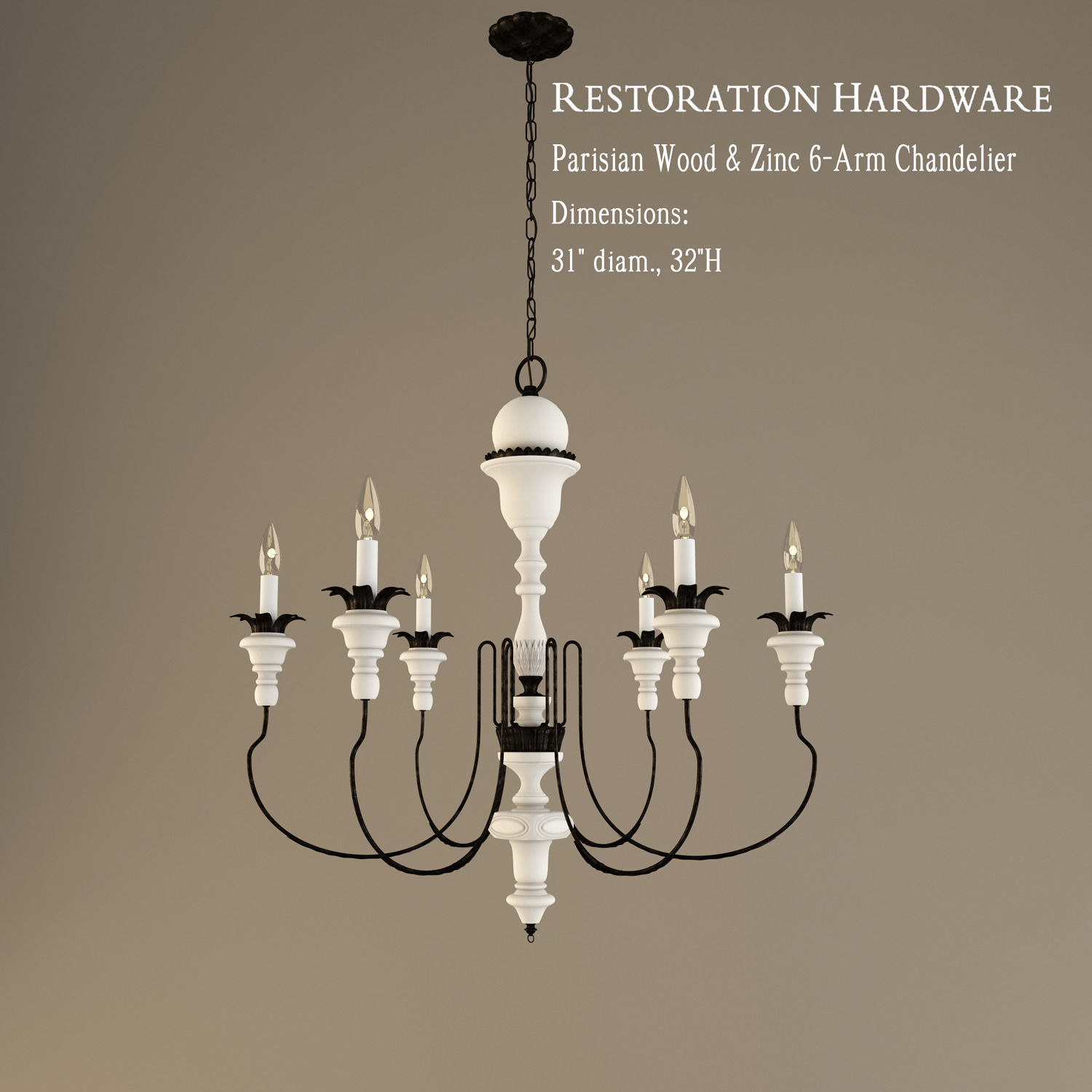 Restoration hardware parisian wood and zinc 6 arm chandelier 3d restoration hardware parisian wood and zinc 6 arm chandelier 3d model 3ds 1 aloadofball