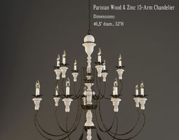 3d restoration hardware  parisian wood and zinc 15 arm chandelier