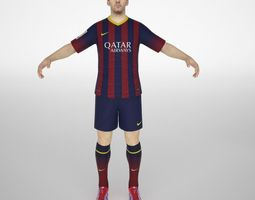 lionel messi animated low-poly 3d model