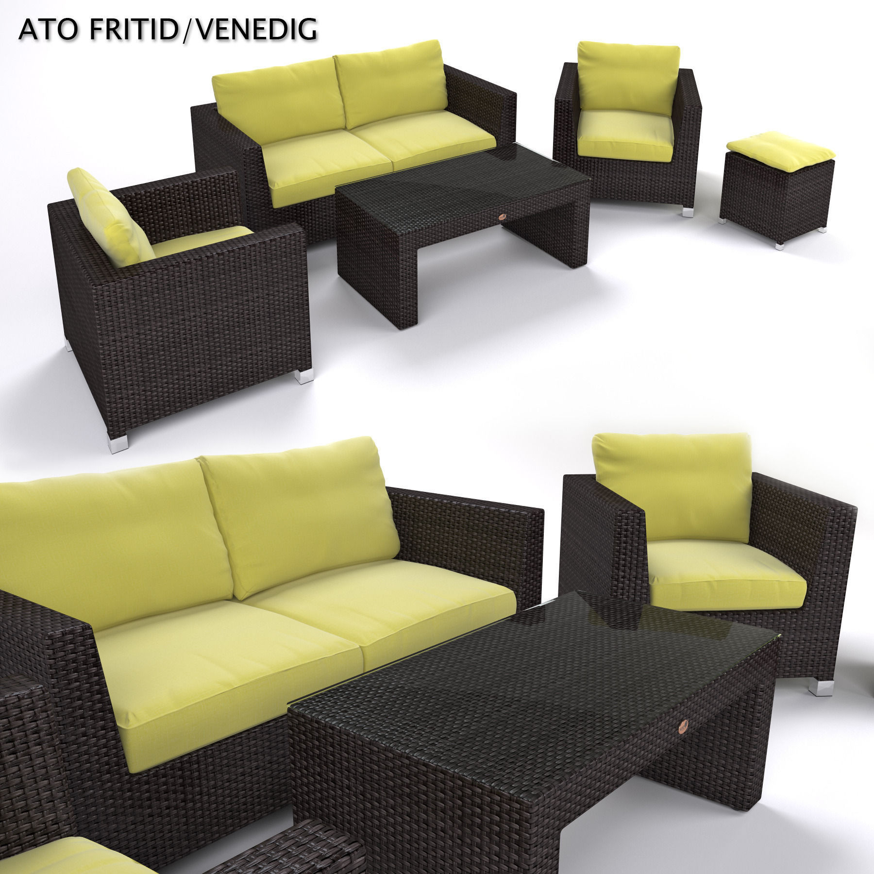 Garden Furniture Synthetic Rattan Set ATO Venedig 3D model MAX