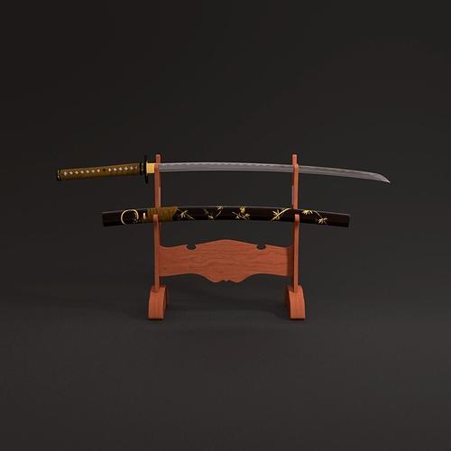 katana sword 3d model obj fbx mtl 1