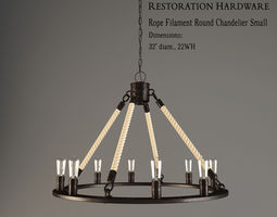 3d restoration hardware  rope filament round chandelier small