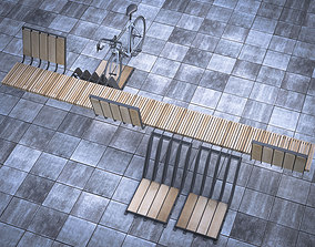 3D model cityscape bench with parking space for bicycles
