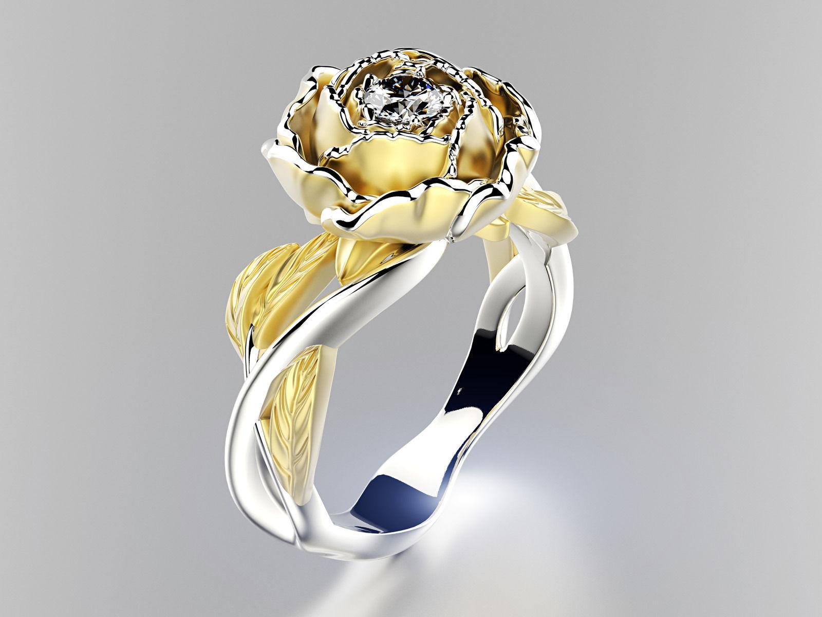 Peony Fashion Ring 0004 3d Model 3d Printable Obj Fbx Ma