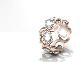 Double Heart Ring 3D Model