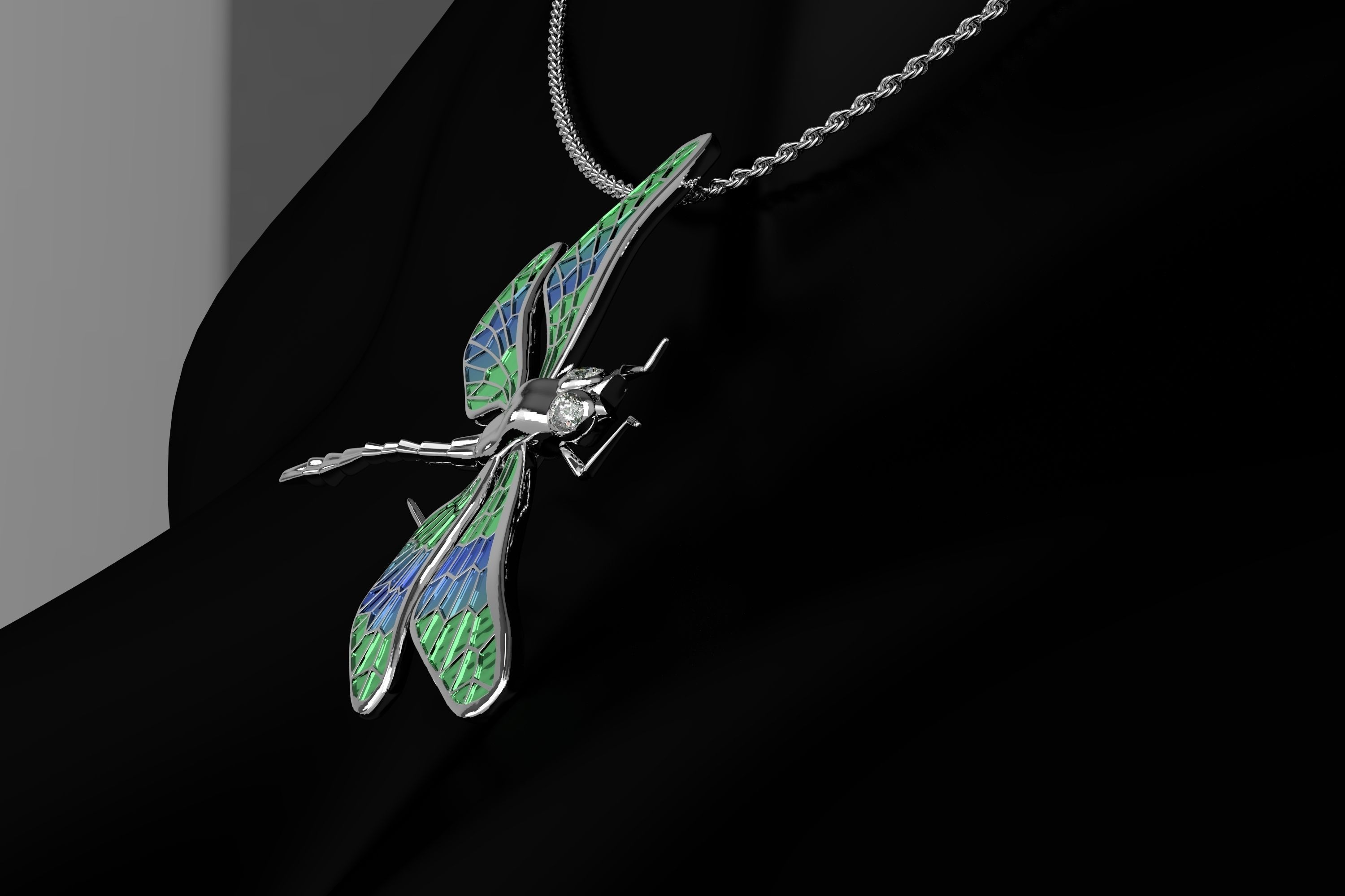 pendant diamond silver and sterling dragonfly product necklace iolite amethyst