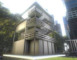 Tower-House Design - Blender Game Engine 3D Model
