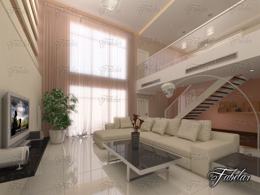 Living room 32 3d model max obj 3ds fbx c4d dae for Living room 3ds max