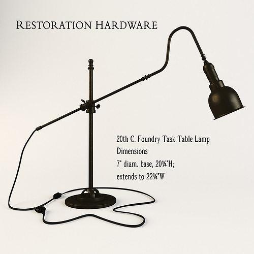 Restoration Hardware 20th C Foundry Task Table Lamp 3D Model
