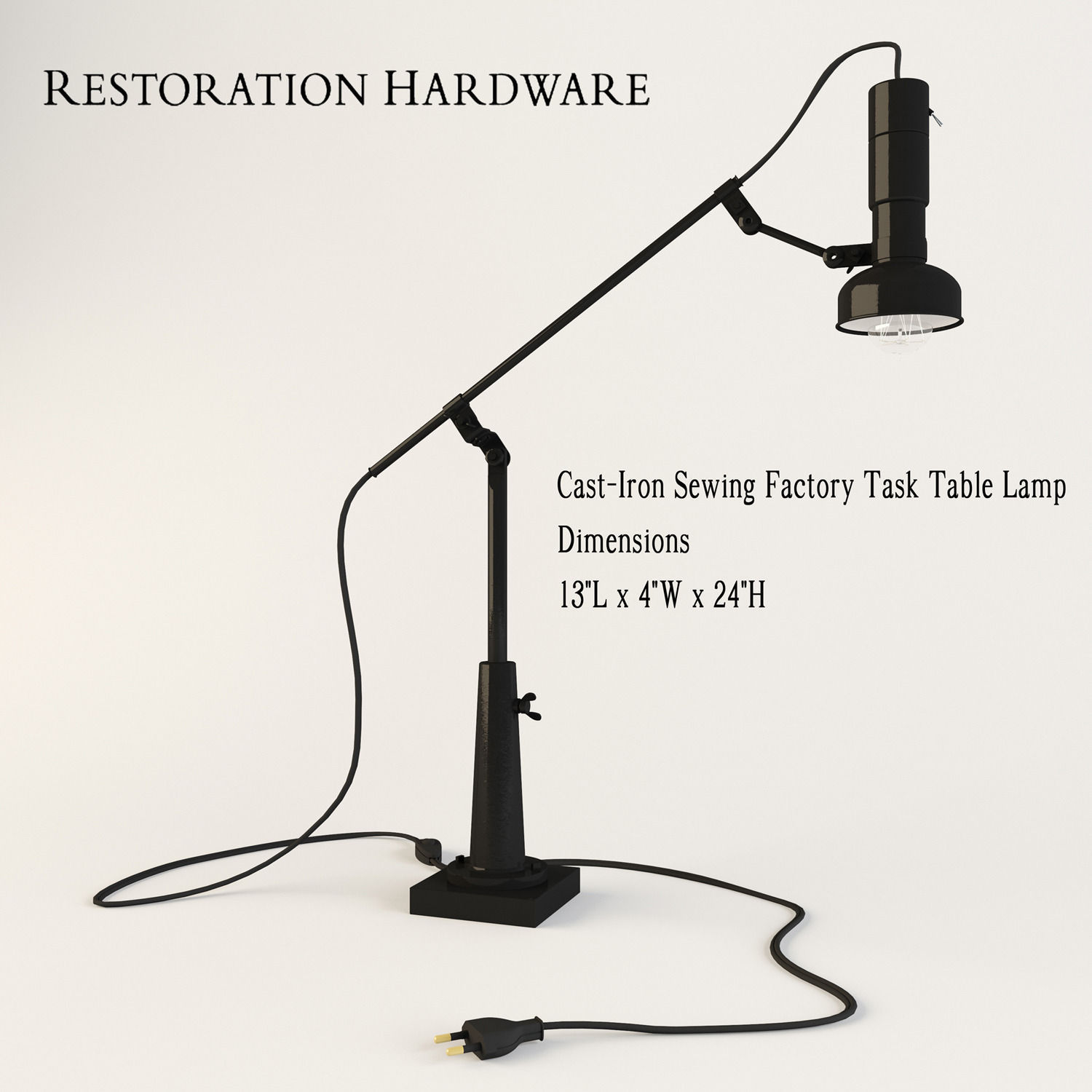 Restoration hardware cast iron sewing factory task table lamp 3d restoration hardware cast iron sewing factory task table lamp 3d model max obj 3ds mtl 1 geotapseo Images