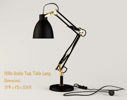 restoration hardware 1930s studio task table lamp  3d model