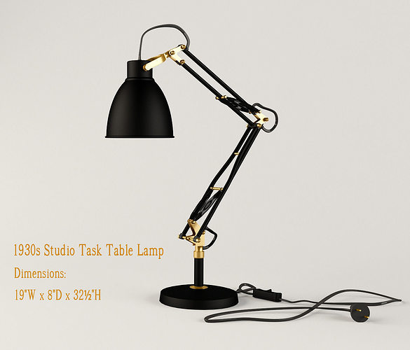 restoration hardware 1930s studio task table lamp  3d model max obj 3ds mtl 1