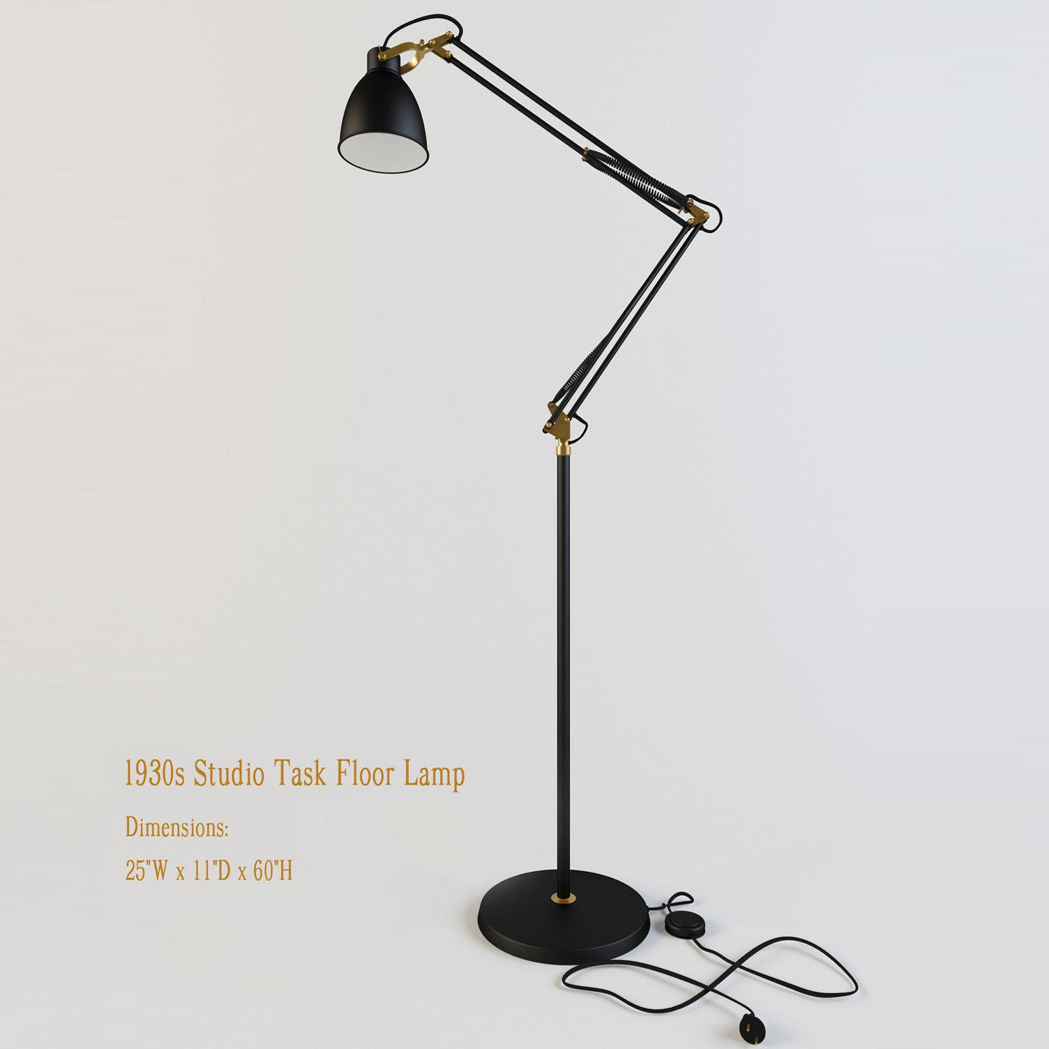 restoration hardware s studio task floor lamp d model max obj  - restoration hardware s studio task floor lamp d model max obj ds mtl