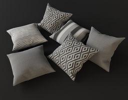 Grey pillows 3D model