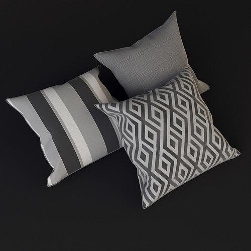 grey pillows 3d model max obj 3ds fbx mtl 4