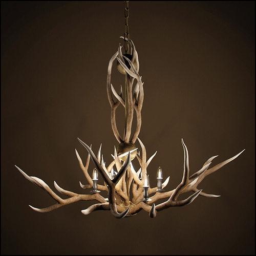3d rh adirondack antler 6 arm chandelier cgtrader aloadofball Images