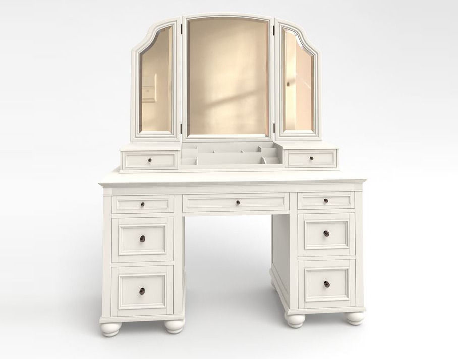 Charmant ... Vanity Cosmetic Table With Mirror 3d Model Max Obj Fbx Mtl 3