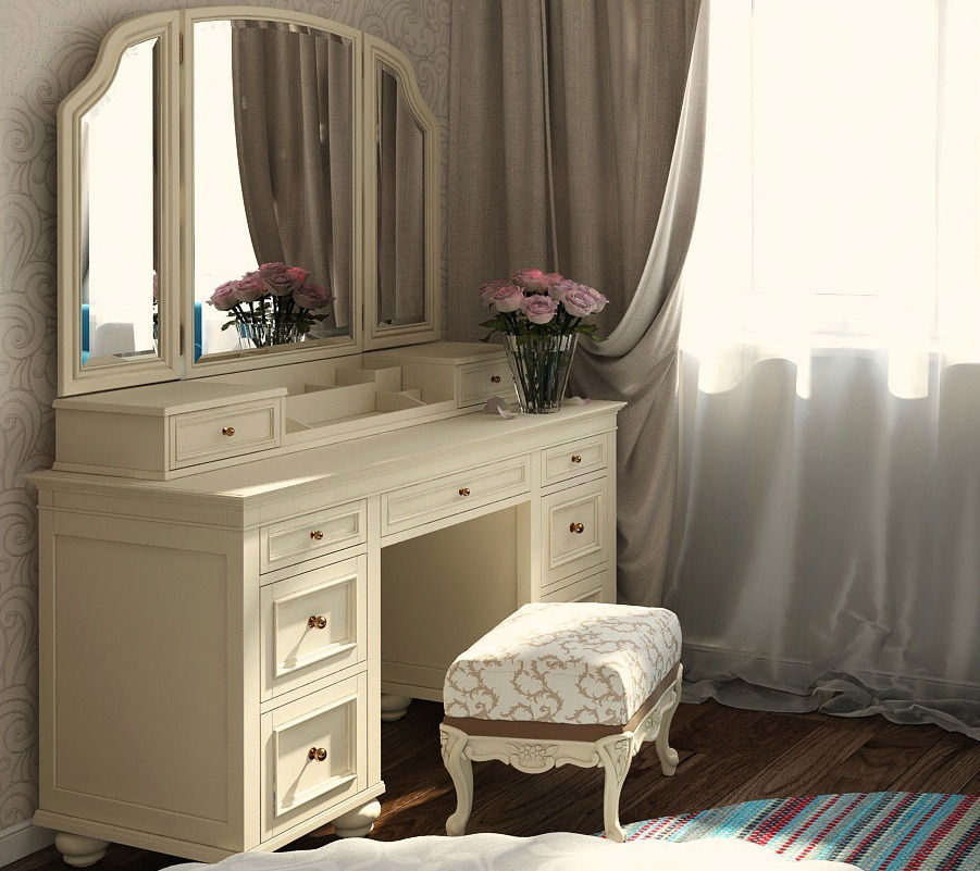 Vanity Cosmetic Table With Mirror 3d Model Max Obj Fbx Mtl 1 ...