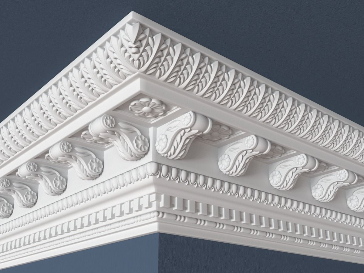 Decorative Crown Molding 002 3D Model MAX OBJ FBX MA MB