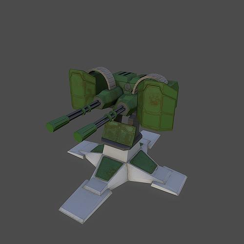 gatling gun 3d model low-poly obj mtl fbx 1