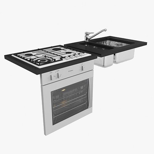 Kitchen Sink Models With Price : kitchen oven rangehood sink gas cooktop mixer 3D Model MAX CGTrader ...