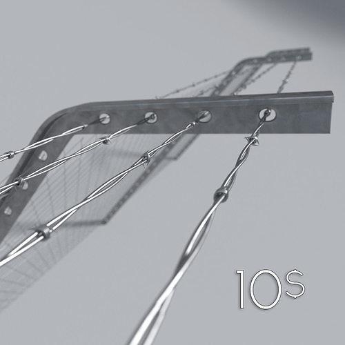 barbed wire 3d model obj mtl 3ds fbx blend x3d 1