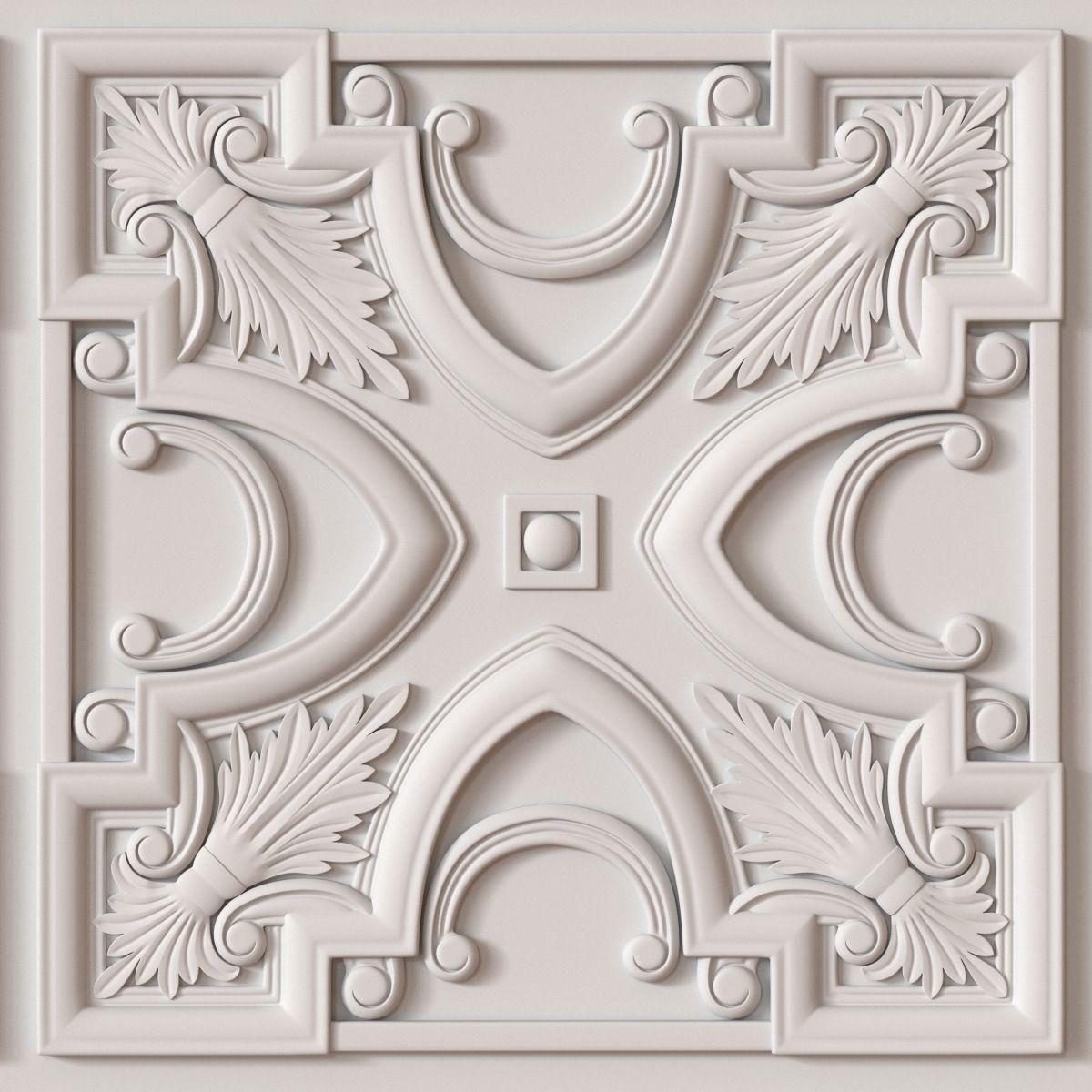 10 Decorative Ceiling Tile Collection 3d Model Obj 2