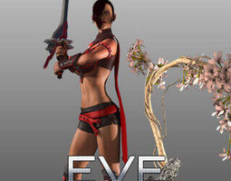 3d warrior game character modeling and rigging for lady animated