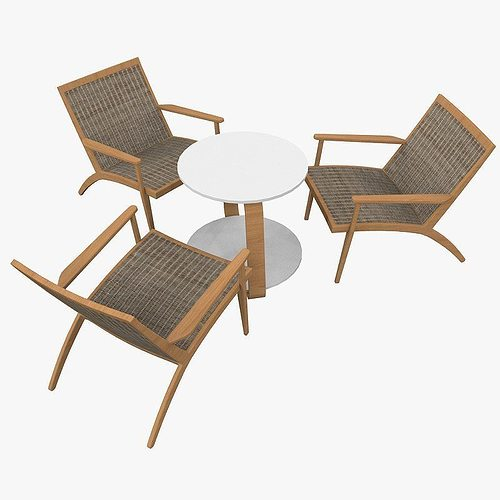 wegner ch25 chair and conference table 60 ties 3d model max 1
