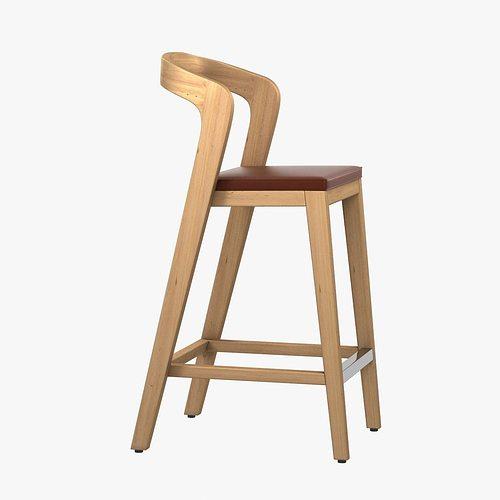 Modern Wood Barstool Model