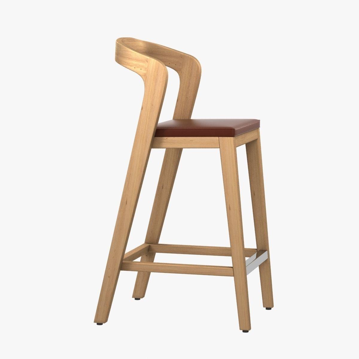 Model Modern Wood Barstool Cgtrader