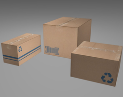 3d asset realtime cardboard boxes low poly