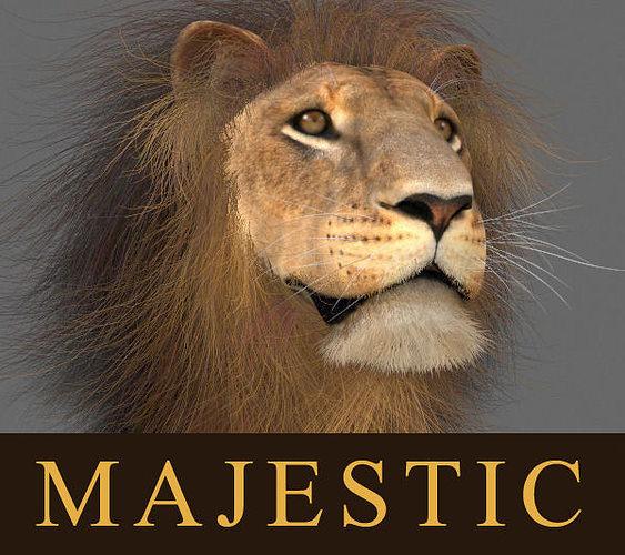majestic lion - 3d model 3d model rigged animated max obj mtl fbx 1