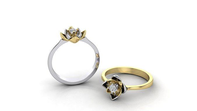 engagement ring lotus 3d model stl 3dm dwg 1