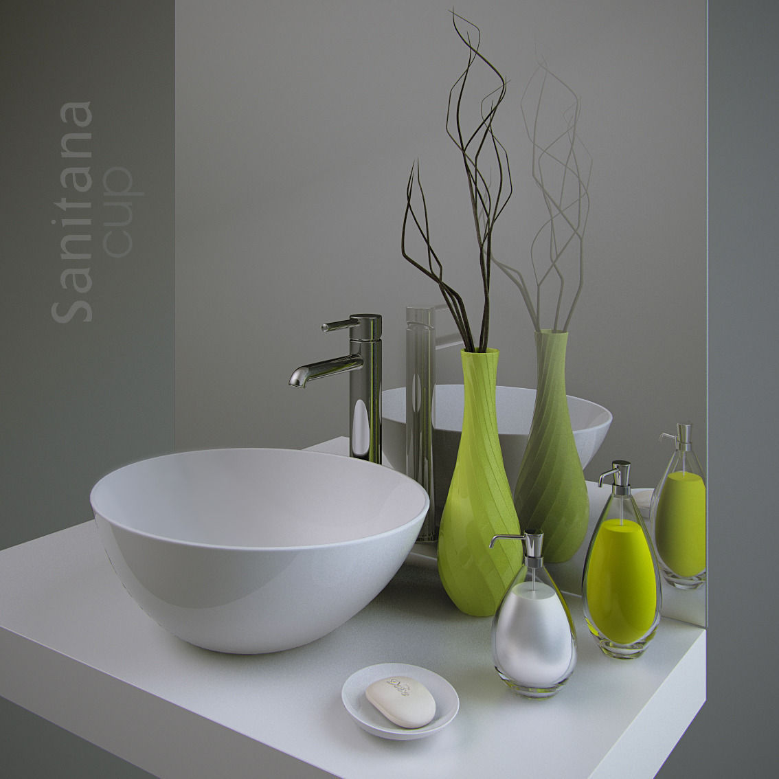 Bathroom set sanitana cup and decor 3d model max for 3d bathroom decor