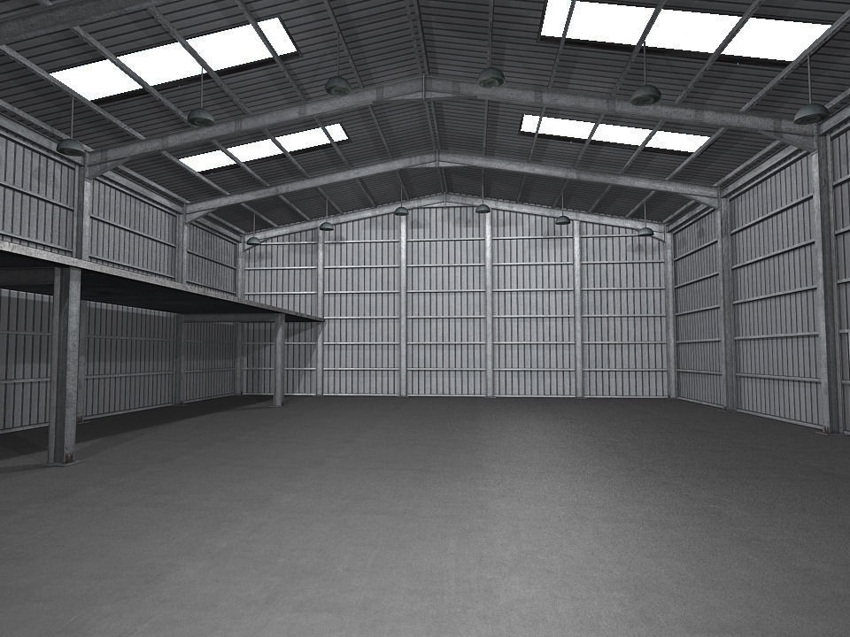 3d model industrial warehouse low poly vr ar low poly for 3d garage builder