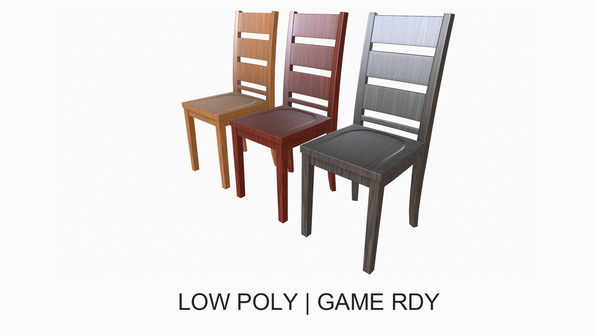 Simple Wooden Dining Chair 3d Model Low Poly Obj Fbx 1 ...