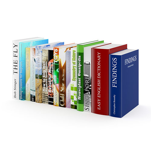books set 3d model max obj fbx c4d 1
