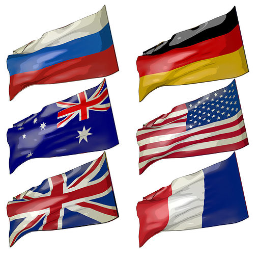 flags 3d model low-poly animated c4d 1