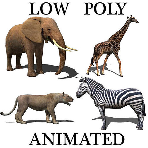 low poly savannah pack - 3d model 3d model low-poly rigged animated max 3ds fbx stl 1