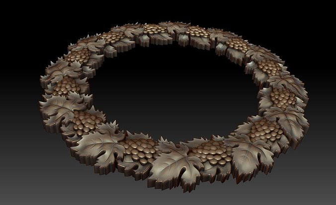 3d decorative frame with grapes and leaves cgtrader for 3d model decoration