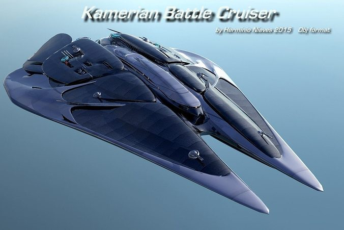 kamerian battle cuiser 3d model obj mtl 1