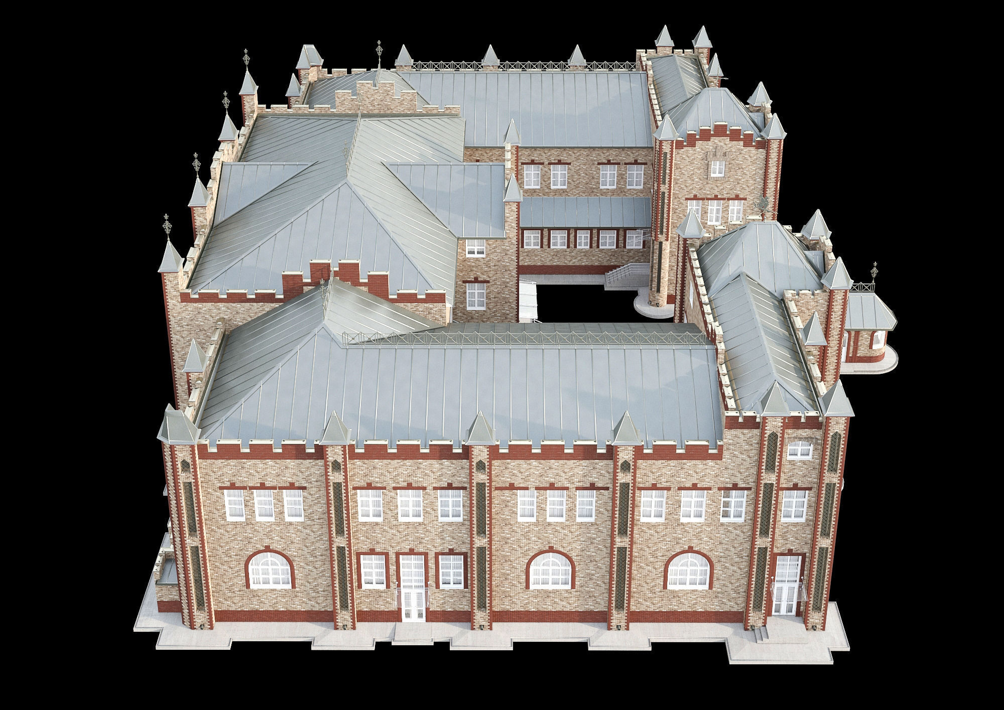 Queen anne style building 3d model max fbx for Stile queen anne