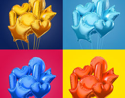 3d model colorful foil balloons