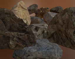 3d asset rock pack 1 PBR low-poly